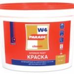 Краска воднодисперсионная акриловая PARADE W4 база А Белая (9л)